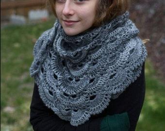 Crochet Grayscale Lace Neck Warmer, Scarf, Kerchief