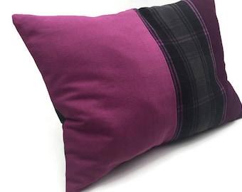 SALE Lumbar Throw Pillow, Decorative Pillow/Cushion Cover pink cotton Black White Gray plaid Wool Mix  Plaid Tartan Pillow Cover
