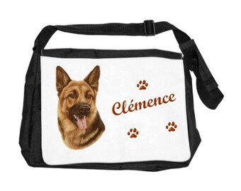 German Shepherd personalized with name shoulder bag