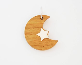 Wood Silver Moon Charm for Necklace-Jewelry  Gift For Women/Girls