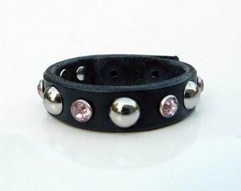 Leather Bracelet, Black Cuff Bracelet, Pink Crystals, Black Biker Leather Bracelet, Silver Rivets & Pink Rhinestones, Motorcycle Wrist Band