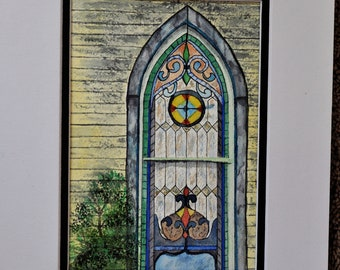 Stain Glass Window | Water Color Painting |Matte Frame | Church Window