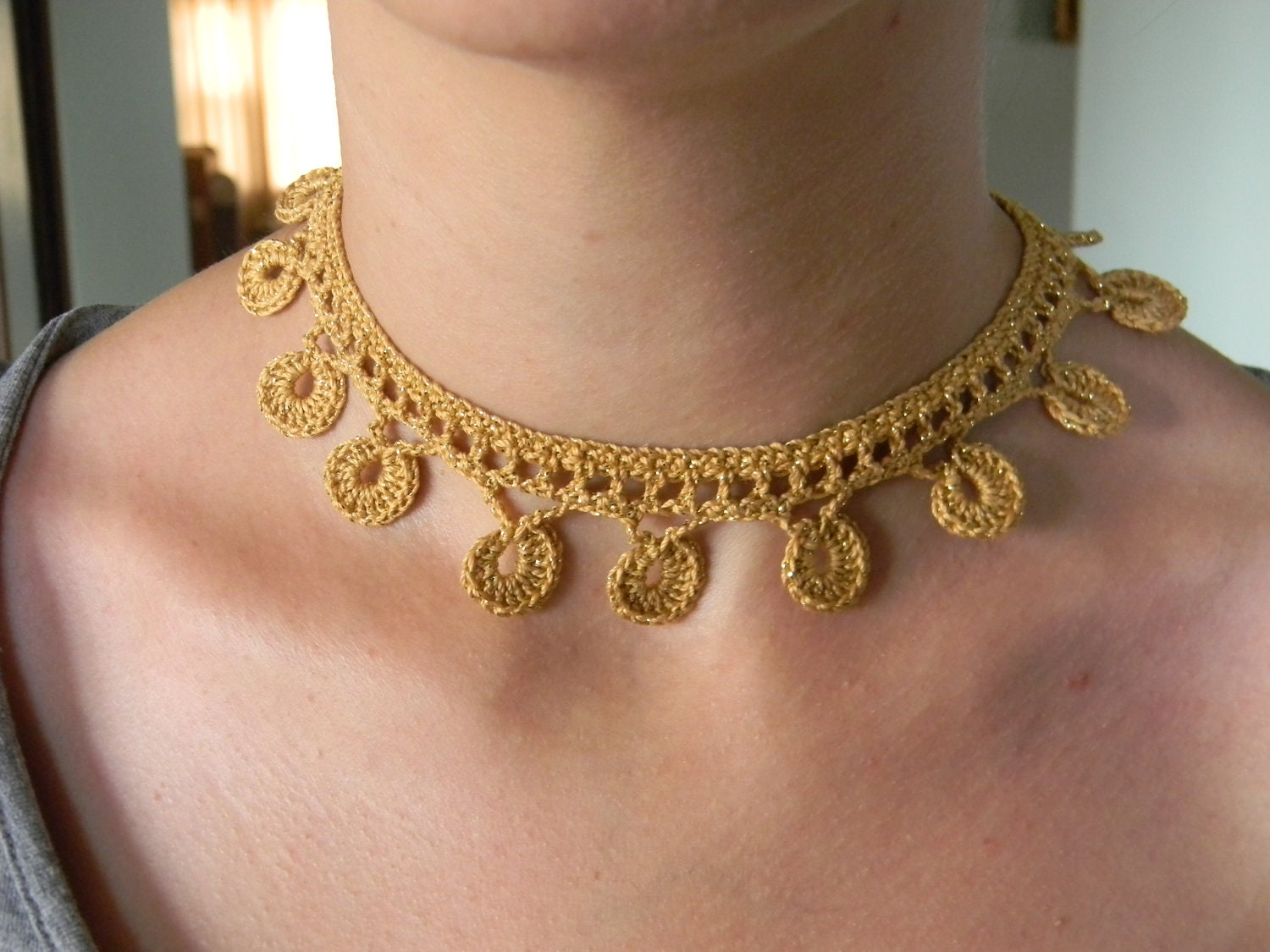Crochet necklace pattern pdf for golden coins zoom bankloansurffo Image collections