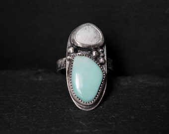READY TO SHIP - Pilot Mountain x White Buffalo Turquoise Sterling Silver Ring | Size 9 | Minimalist Boho Bohemian | Gugma Jewelry