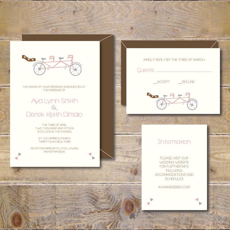 Bike Wedding Invitations . Bicycle Wedding Invitations . Bike
