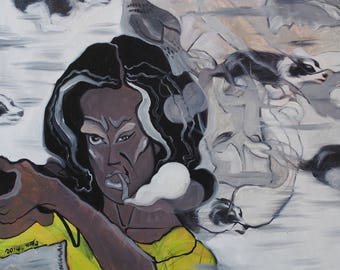 Super Cool Expression Surreal Oil Painting on Canvas 'Bang Bang Imagine' Original Artwork by Kannika Jansuwan