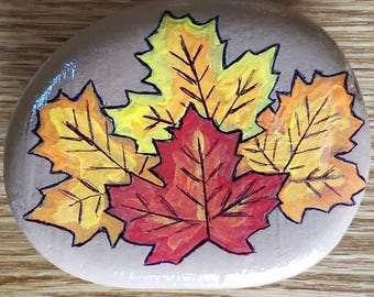 Painted Rock - Autumn Leaves Stone Pebble Kindness Fall