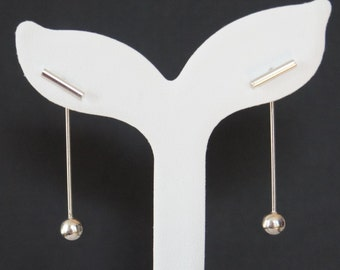 Sterling Silver Long Stick Earrings, 40mm, Birthday Gift, Bridesmaid Gift, Christmas Gift
