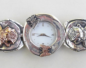 Butterflies and Roses , Sterling silver and Gold watch, Israeli jewelry, made in Israel