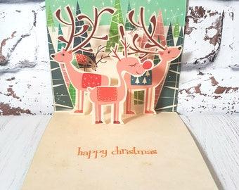 Pop Up Reindeer Christmas Card, Handmade Christmas Card, Christmas Card, Retro Card, Xmas Card, Vintage Christmas, Rudolph Card