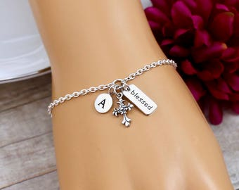 Personalized Blessed Bracelet, Silver Cross Bracelet, Sterling Silver, Charm Bracelet, Gift for Godmother, Confirmation Gift, Cross Jewelry