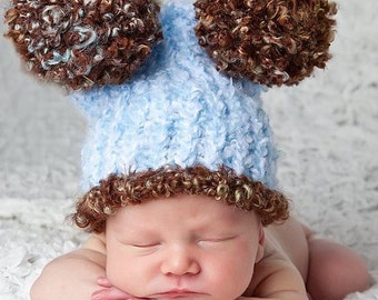 Baby boy hat blue brown photo prop 3 to 6 months