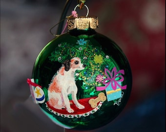 Hand Painted Christmas Ornament with a Jack Russell Terrier sitting next to the tree W/3D Effect- item 46