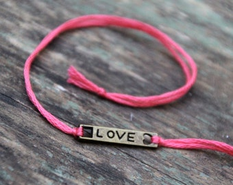 valentine love bracelet personalized friendship bracelet custom jewelry bronze wish bracelet wishlet best friend valentines day gift
