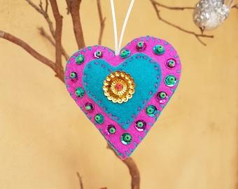 Small Cerise and Turquoise Handmade Felt Heart Ornament