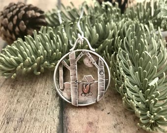 Forest Camping and Moon Necklace, Hand Cut, Sterling Silver and Copper, Birch Trees, Tent, Camping, and Supermoon Shadowbox Necklace