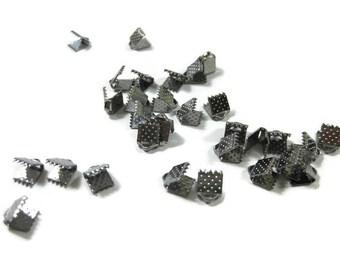 Gun Metal Toned Iron Ribbon Crimps 6 mm