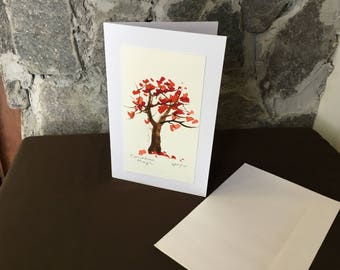 Watercolour Maple Tree Card
