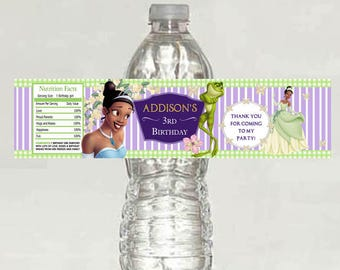 printable - The Princess and the Frog Birthday water bottle label