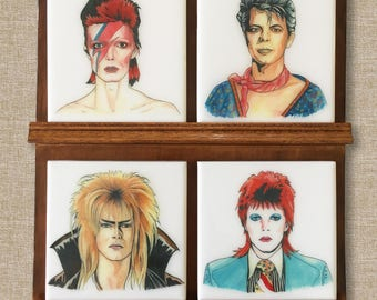 Faces of David Bowie Hand-Illustrated Ceramic Coasters, set of 4