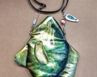 Fun Artist-Signed Handmade Stylish Fish Purse Bag