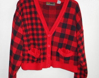 Vintage 80s Paris Sport Club red black checkered slouch cardigan sweater grunge punk preppy