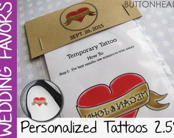 100 Offbeat Wedding Favors - Temporary Tattoos with Customized Personalized Packaging