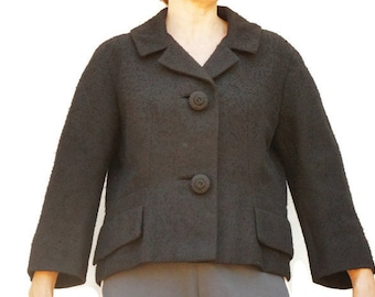 Vintage 50s Women's Fitted Short Black Blazer Jacket/ Retro/ Mid Century/ High Fashion