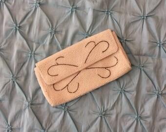 Pearl beaded vintage clutch purse /pearls /handbag/vintage /pearls/gray/beads