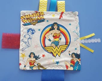 Wonder Woman Inspired Crinkle Tag Toy, Ribbon Tag Toy, Super Hero Tag Toy