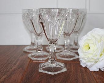 Vintage Cordials, Clear Glass Pedestal Cordials, Set Of 6, Vintage Barware, Vintage Shot Glass, Barware Set, Vintage Glassware, Wedding Gift