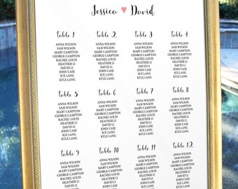 Wedding Table Seating Heart Sign Personalise Table Chart Reception Seating Chart Seating Plan Wedding Decor Decoration Digital Printable
