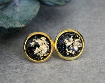Black Stud Earrings, Black Earrings, Gold Stud Earrings, Black and Gold Earrings, Gold Earrings, Black Post Earring, Gold Glitter Earring