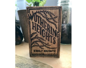 Wuthering Heights Emily Bronte small wooden box, wood burned tk look like an antique book