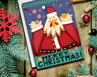 Chicken Cards, Christmas Cards, Santa, Animal Cards, Christmas Stationery, Holiday Cards, Santa Chicken, 2017, Holiday Cards, Greeting Cards