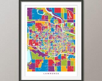 Lawrence Map, Lawrence Kansas City Map, Art Print (3509)