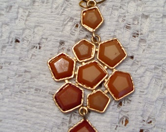Multi-Layer Vintage Pendant Necklace on Gold Tone Chain - Light Rust