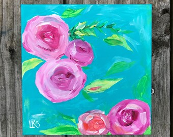 Pink & Teal Floral 1, 6in. x 6 in. Acrylic Painting on Gallery Wrapped Canvas
