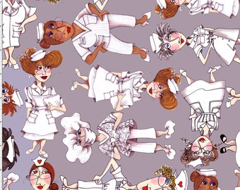 Tossed Nurses Gray Fabric ~ 1/2 yard cut of 100% Cotton Fabric by Loralie ~ 691-799