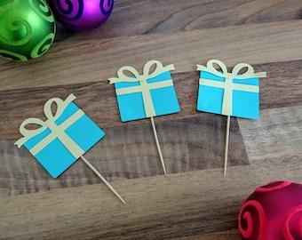 Christmas Cupcake topper, Teal present Cupcake topper, Christmas Cake topper, Modern Christmas decoration, Cupcake topper