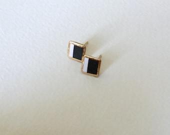 Porcelain square stud earrings- black and white small geometric earrings, porcelain geometric studs, gift for her