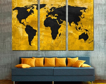 Munsell blue world map canvas print 3 panel split triptych gold and black world map canvas print wall art 3 panel split triptych for home office living room wall decor interior design gumiabroncs Image collections