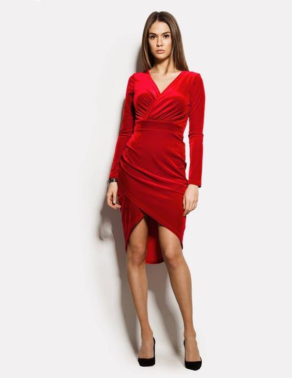 Samt Kleid rot Wrap Kleid Anlass Kleid Partei roten Kleid