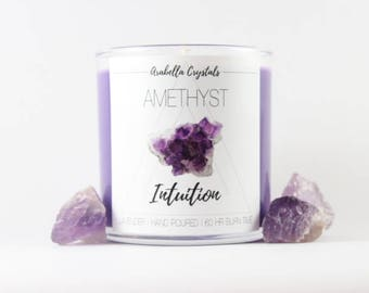 Amethyst Crystal Candle / Crystal Candle / Lavender / Soy Candle / Intuition