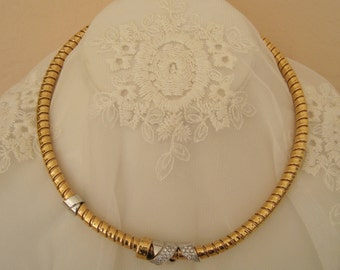 La Nouvelle Bague Necklace Tubogas Choker 18K 750  Rose Gold White Gold Diamond Made in Italy Estate