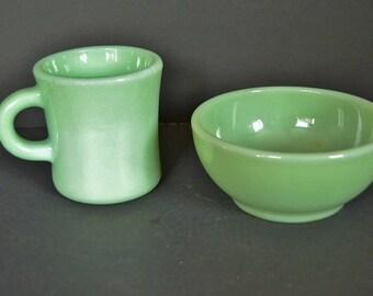 Jadeite Coffee Mug With Soup Bowl