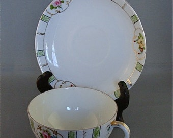 Vintage Nippon Floral Tea Cup and Saucer