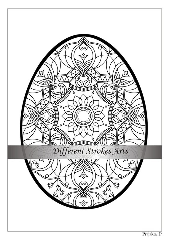 Easter egg mandala coloring pages for adults Zentangle Easter