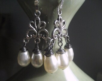 Blanca Pearl Earrings, bridal earrings, bridesmaids accessory, Antique Silver Chandelier