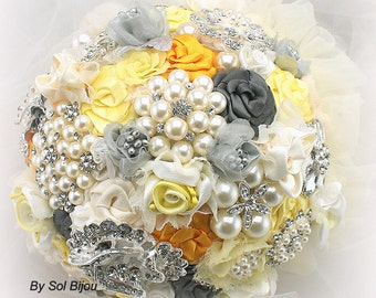 Wedding Brooch Bouquet Yellow, Gray and Silver, Elegant Wedding Bridal Bouquet, Heirloom Bouquet, Jeweled Bouquet, Vintage Style Bouquet